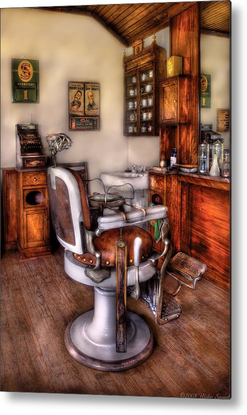 Barber Metal Print featuring the photograph Barber - The Barber Chair by Mike Savad