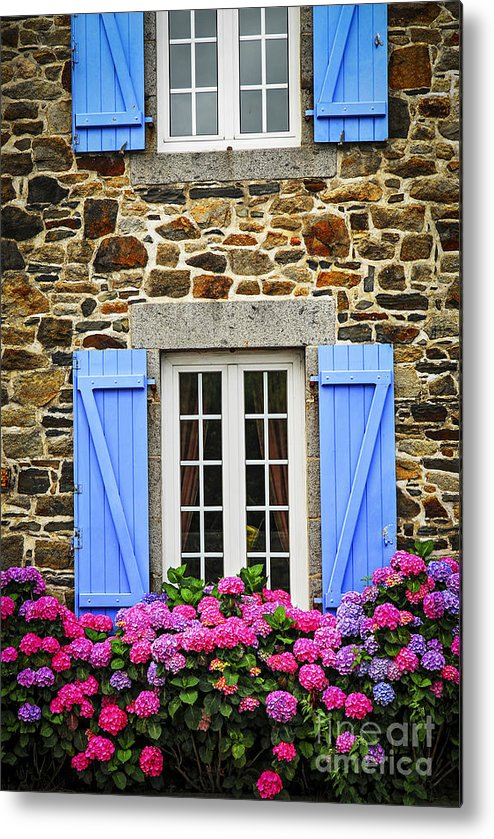 House Metal Print featuring the photograph Blue Shutters by Elena Elisseeva