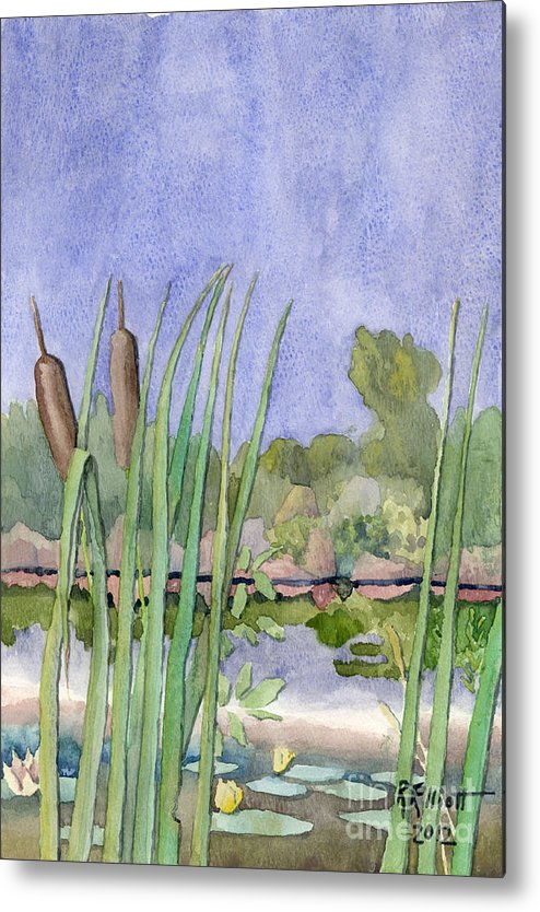 Acrylic Prints Metal Print featuring the painting Bullrushes by John Herzog