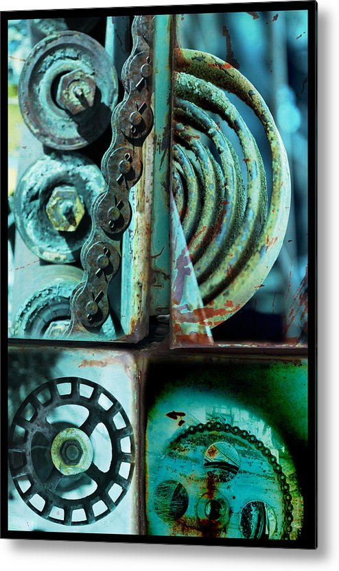 Abstract Metal Print featuring the photograph Circle Collage In Blue by Fran Riley