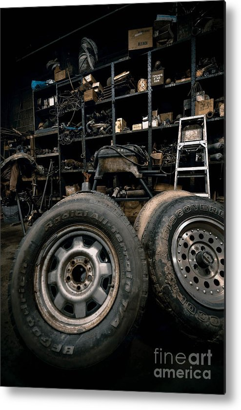 Equipment Metal Print featuring the photograph Dark Old Garage by Amy Cicconi