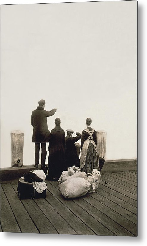 1912 Metal Print featuring the photograph Ellis Island Immigrants by Library of Congress