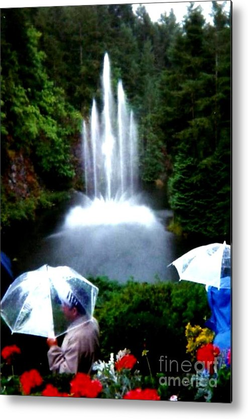 British Columbia Metal Print featuring the photograph Fountain And Umbrellas by Gail Matthews
