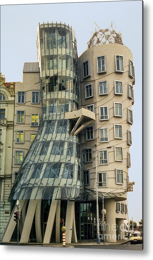 Prague Czech Republic Building Dancing Buildings Structures Architecture Cityscape Cityscape City Cities Landscape Landscape Metal Print featuring the photograph Fred And Ginger by Bob Phillips