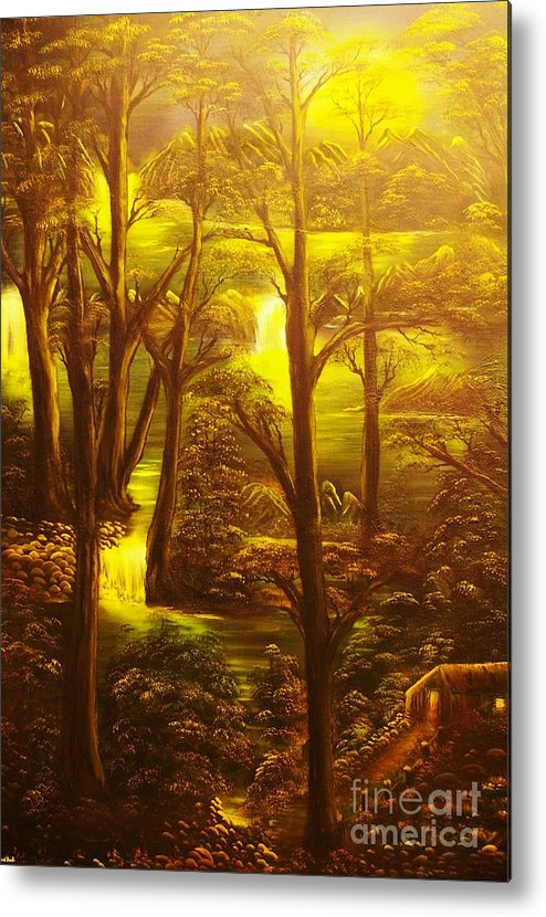 Path Metal Print featuring the painting Glowing Evening Falls-original Sold- Buy Giclee Print Nr 28 Of Limited Edition Of 40 Prints  by Eddie Michael Beck