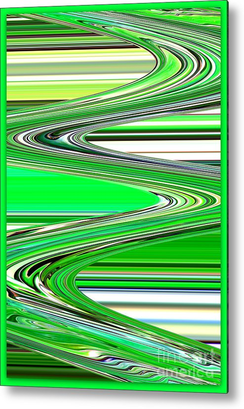 Green Abstract Metal Print featuring the photograph Go With The Flow by Carol Groenen
