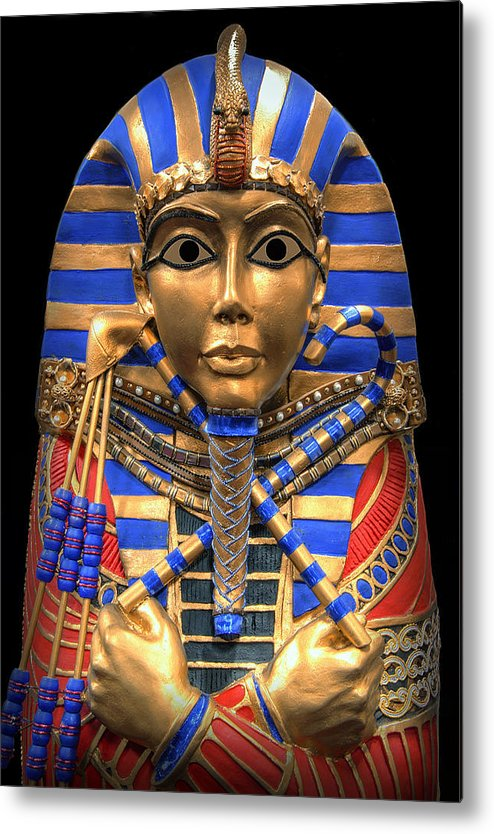 Egypt Metal Print featuring the digital art Golden Inner Sarcophagus Of A Pharaoh by Daniel Hagerman