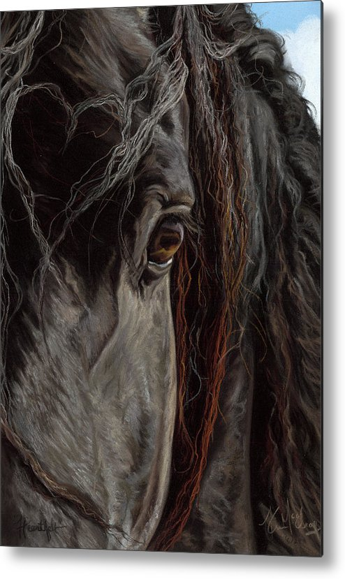 Black Horse Metal Print featuring the pastel Heartfelt by Kim McElroy