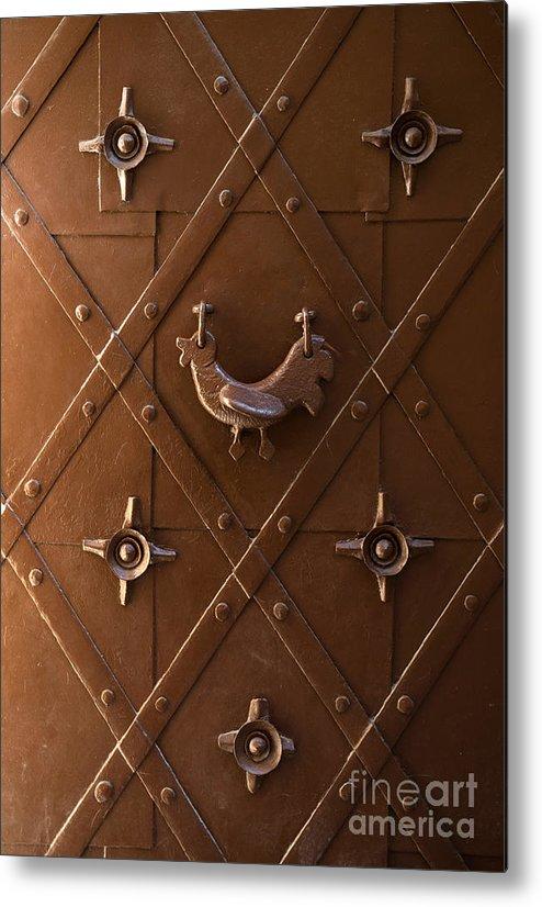 Metal Metal Print featuring the photograph Hen Shaped Doorknob On A Brown Metal Doors by Jaroslaw Blaminsky