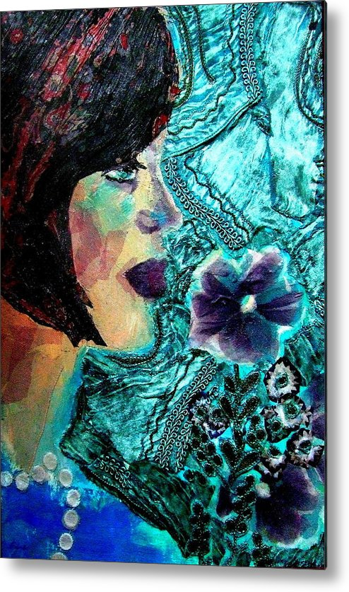 Mixed Media Portrait Metal Print featuring the mixed media Ilana by Diane Fine