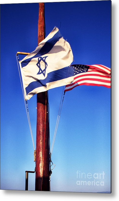 Us Flag Metal Print featuring the photograph Israeli Flag And Us Flag by Thomas R Fletcher