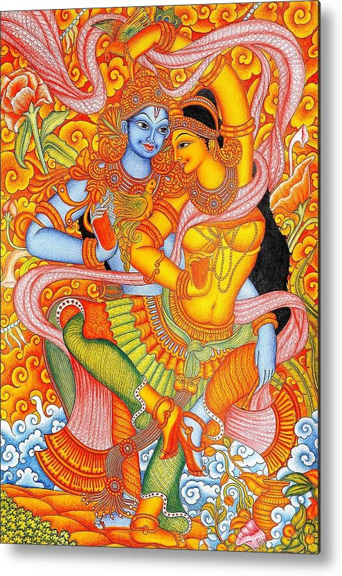 U.s.pd: Pd-art: Reproduction Metal Print featuring the painting Kerala Fresco Mural by Pg Reproductions