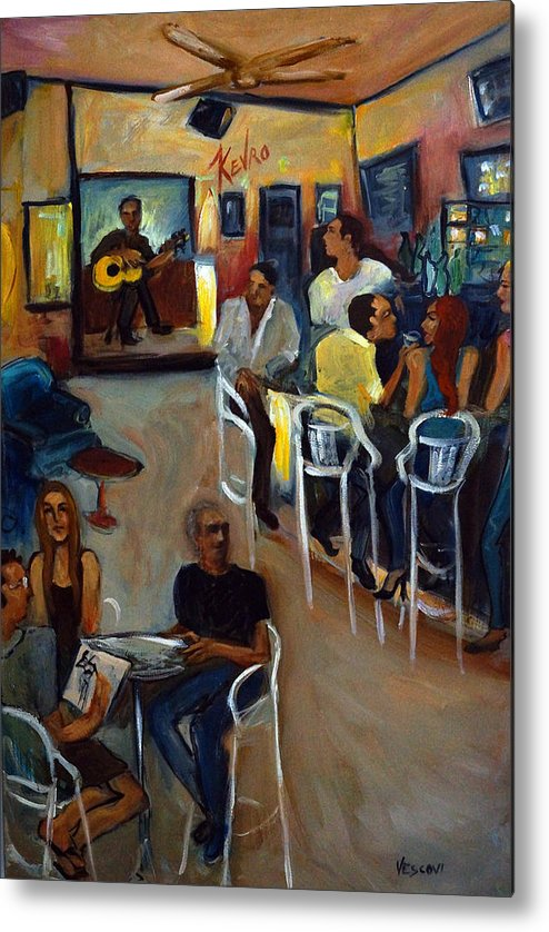 Art Bar Metal Print featuring the painting Kevro's Art Bar by Valerie Vescovi