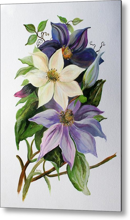 Clematis Metal Print featuring the painting Lilac Clematis by Taiche Acrylic Art