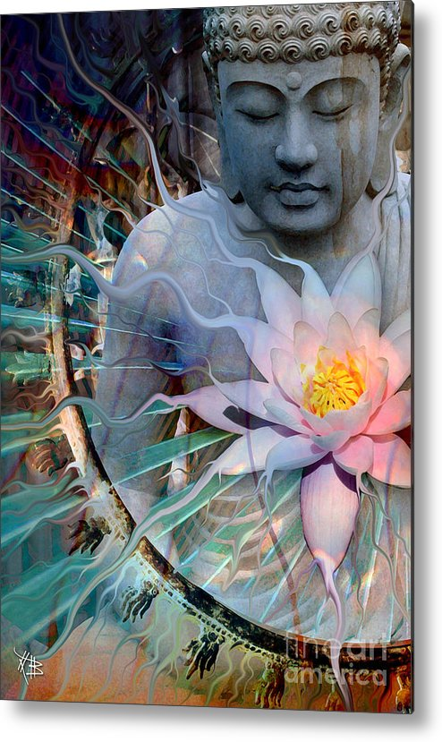 Buddha Metal Print featuring the painting Living Radiance by Christopher Beikmann