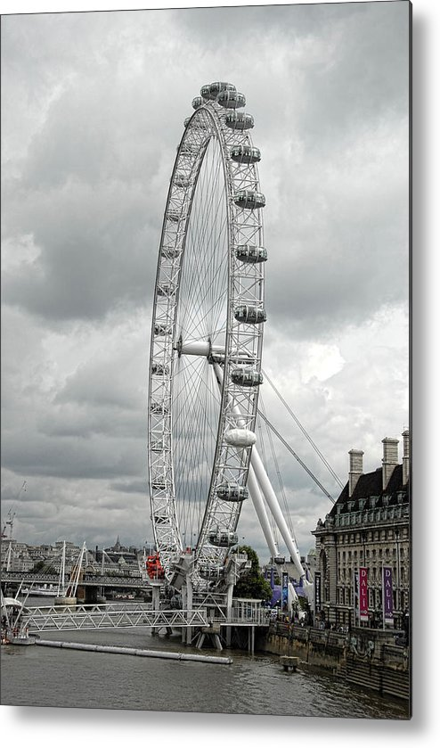 London Eye Metal Print featuring the photograph London Eye On The River Thames by Donna Lee Blais