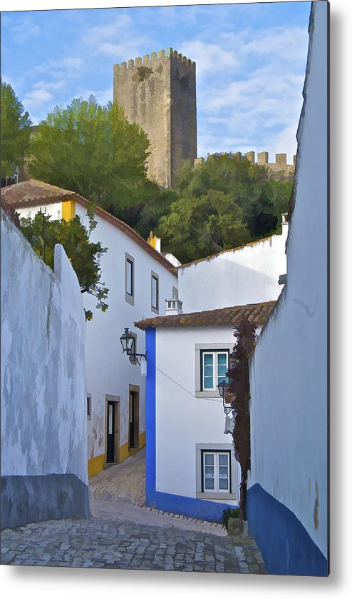Blue Metal Print featuring the photograph Medieval Castle Of Obidos by David Letts