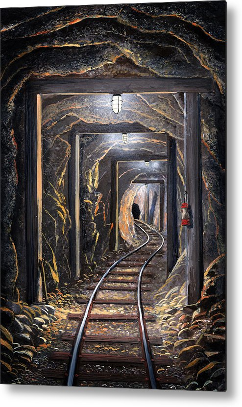 Mural Metal Print featuring the painting Mine Shaft Mural by Frank Wilson