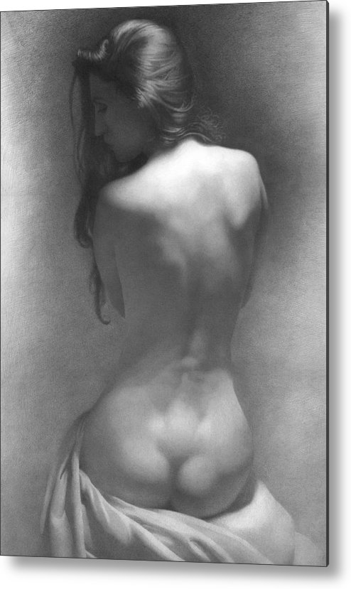 Metal Print featuring the drawing Model Against The Dark Background 2002 by Denis Chernov