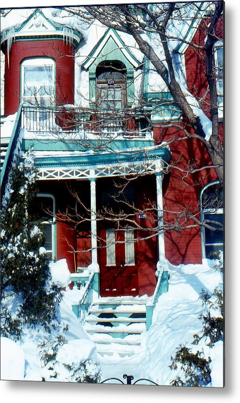 Christmas Winter Snow Montreal Metal Print featuring the painting Montreal The Esplanade In Winter by David M Davis