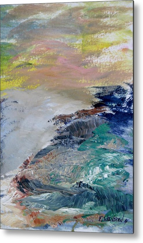 Sea Metal Print featuring the painting North Beach Rocks Of San Francisco by Edward Wolverton