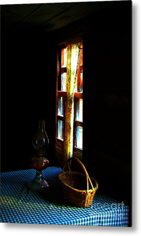 Cabin Metal Print featuring the photograph Old Cabin Table With Lamp And Basket by Julie Dant