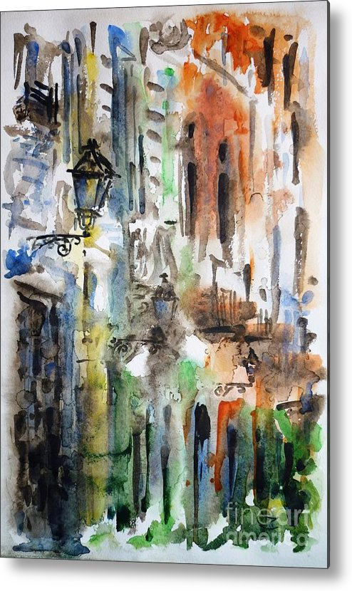 Old Metal Print featuring the painting Old Houses Of San Juan by Zaira Dzhaubaeva