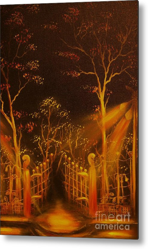 Landscape Metal Print featuring the painting Parks Gate-original Sold- Buy Giclee Print Nr 29 Of Limited Edition Of 40 Prints by Eddie Michael Beck