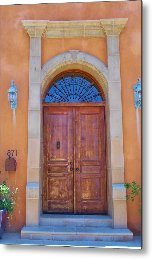Architecture Metal Print featuring the photograph Ornate Door On Adobe House by Richard Jenkins
