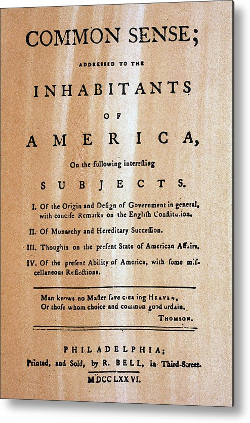 1776 Metal Print featuring the photograph Paine: Common Sense, 1776 by Granger