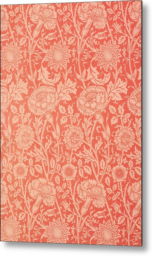 Pattern Metal Print featuring the tapestry - textile Pink And Rose Wallpaper Design by William Morris