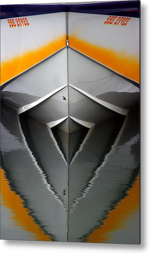 Boat Metal Print featuring the photograph Pointy End Reflection by Paul Wash