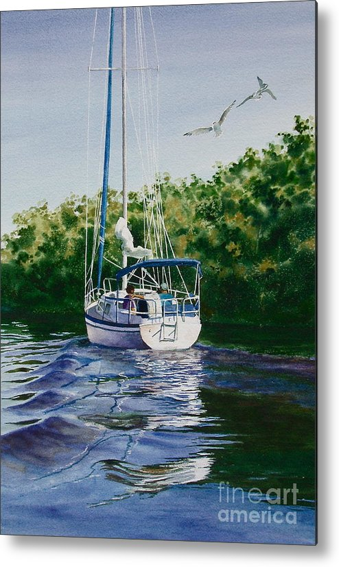 Sailboat Metal Print featuring the painting Ponce De Leon Passage by Karol Wyckoff
