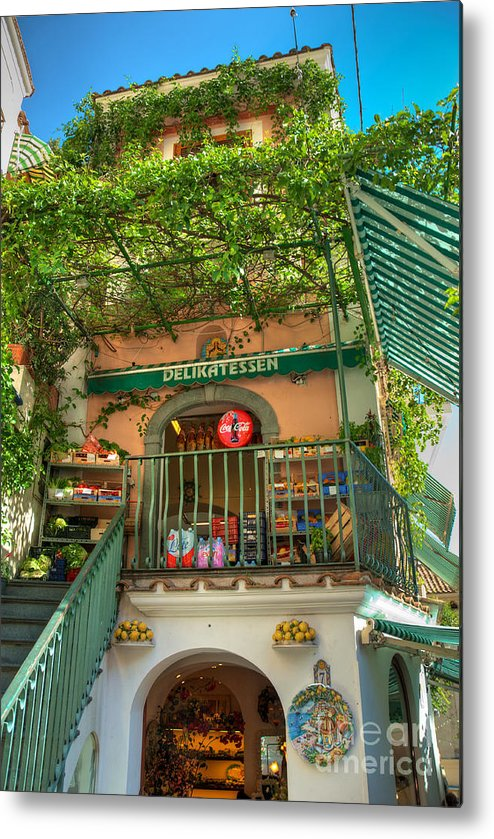Deli Metal Print featuring the photograph Positano Deli by Bob and Nancy Kendrick