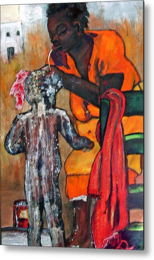 Mom Bathing Boy Metal Print featuring the painting Saturday Night Bath by Peggy Blood