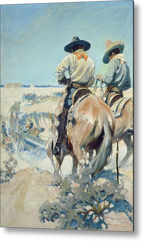Horse Metal Print featuring the painting Supply Wagons by Newell Convers Wyeth