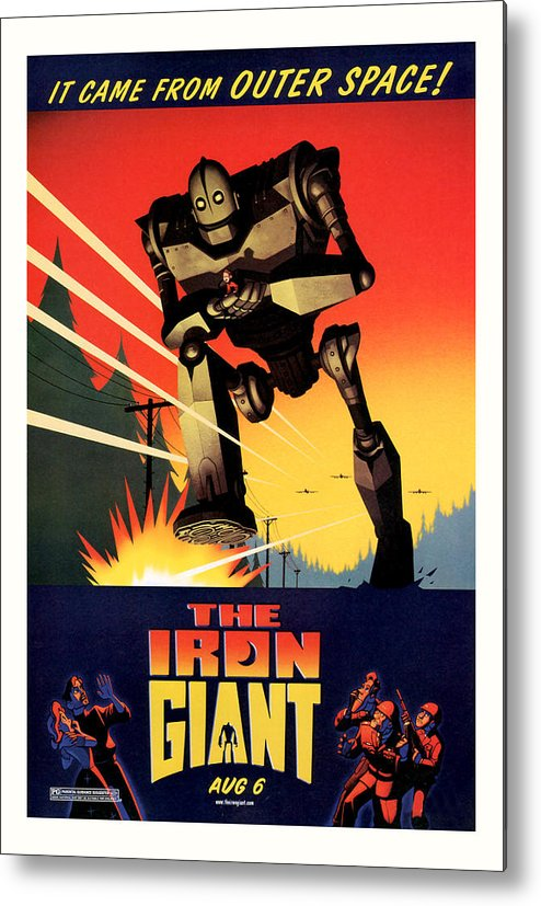 Sci Fi Metal Print featuring the mixed media The Iron Giant 1999 by Presented By American Classic Art