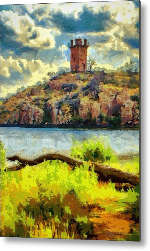 Jeb Johnson Metal Print featuring the painting Tower On The Bluff by Jeffrey Kolker