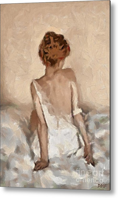 Figurative Metal Print featuring the painting Virginity by Dragica Micki Fortuna