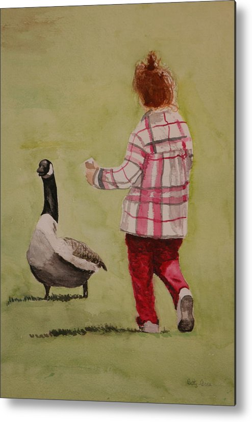 Child Metal Print featuring the painting Want Some...... by Betty-Anne McDonald