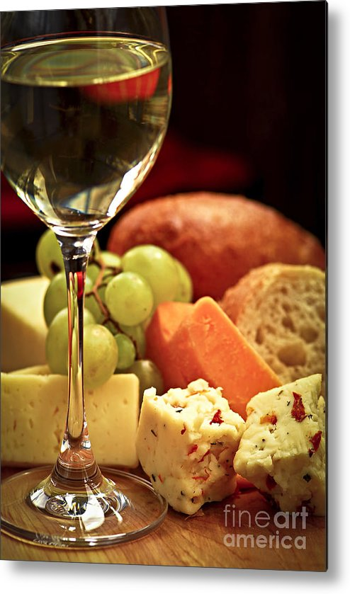 Cheese Metal Print featuring the photograph Wine And Cheese by Elena Elisseeva
