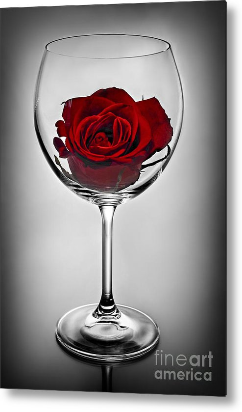 Glass Metal Print featuring the photograph Wine Glass With Rose by Elena Elisseeva