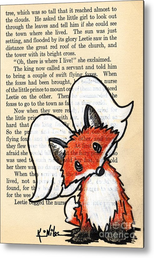 Fox Metal Print featuring the drawing Winged Fox by Kim Niles