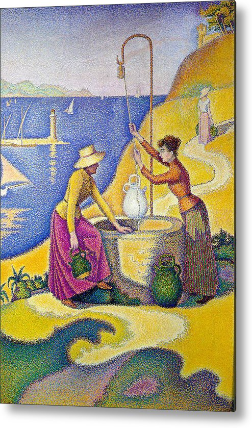 Altered Art Metal Print featuring the digital art Young Women Of Provence At The Well-1892 by Paul Signac