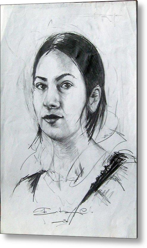 Portrait Metal Print featuring the drawing Portrait by Ertan Aktas