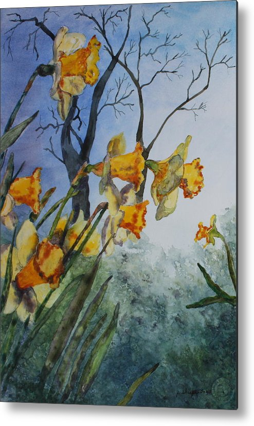 Floral Metal Print featuring the painting Welcome Springtime by Patsy Sharpe