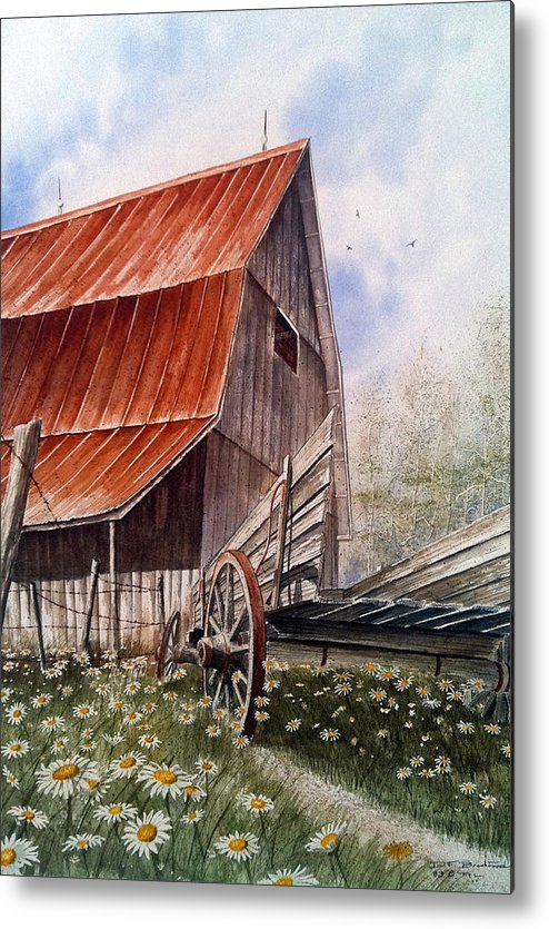 Barn Metal Print featuring the painting A Time For Daiseys by Don F Bradford
