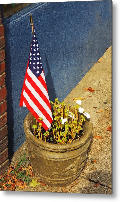 American Flag Metal Print featuring the photograph American Flag In Flower Pot - 3 by Larry Mulvehill