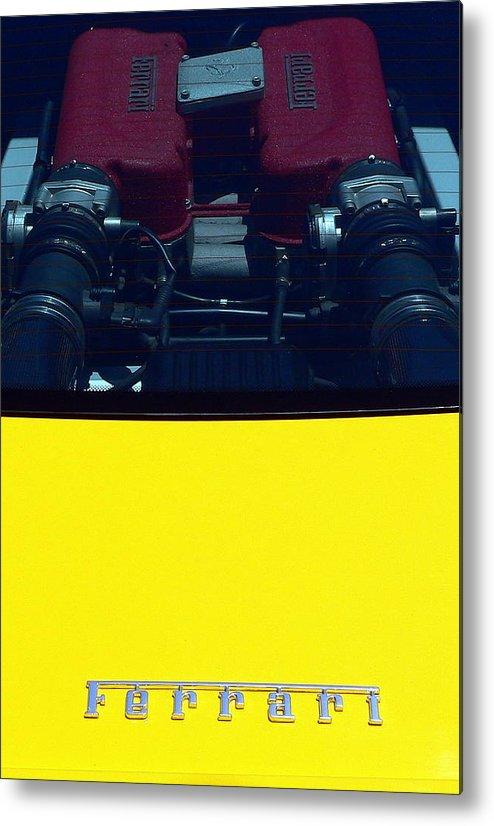 Ferrari Metal Print featuring the photograph Ferrari Engine by Jeff Lowe