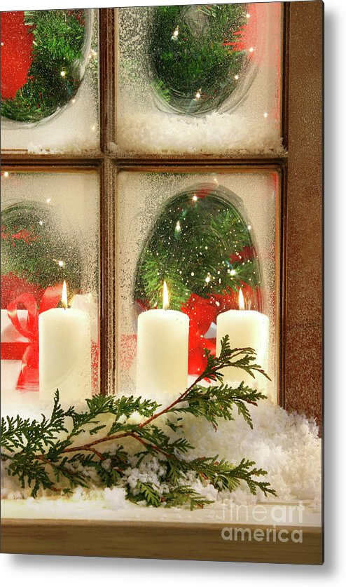 Background Metal Print featuring the photograph Frosted Window by Sandra Cunningham